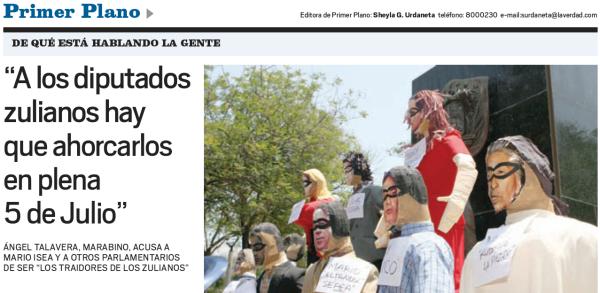 titular del diario la verdad de maracaibo, en donde se invita al asesinato de diputados revolucionarios