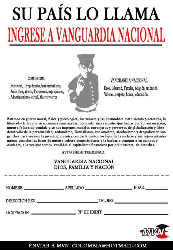 Formulario de ingreso al Mvimiento Vanguardia Nacional, de extrema derecha en Colombia