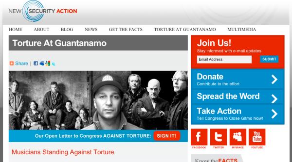New Security action, organización de músicos contra la cárcel de Guantánamo en Cuba