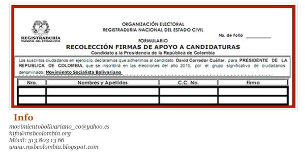 formulario para descargar en recolección de firmas del MSB (Colombia)