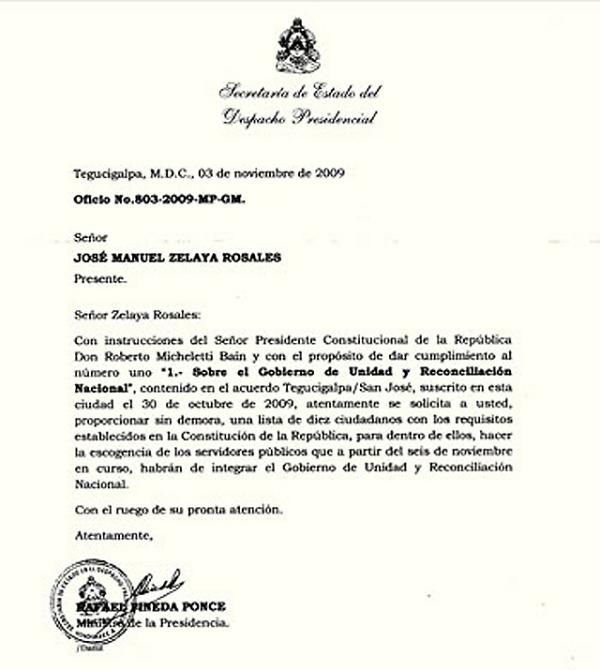 CARTA DE MICHELETTI A ZELAYA PIDIENDO LOS NOMBRES DE LOS INTEGRANTES DEL GOBIERNO DE UNIDAD