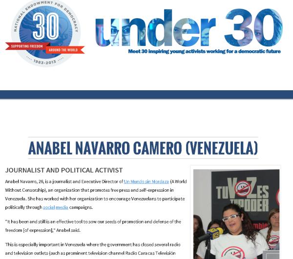 anabel navarro camero, miembro de sin mordaza y recibiendo dinero de la ned para la desestabilización del gobierno de venezuela