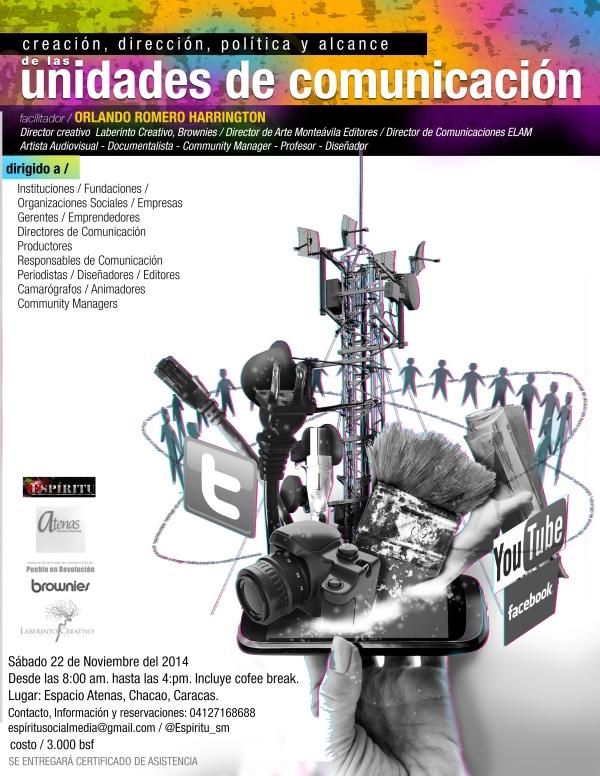Cartel del curso unidades de comunicación dictado por Orlando romero Harrington