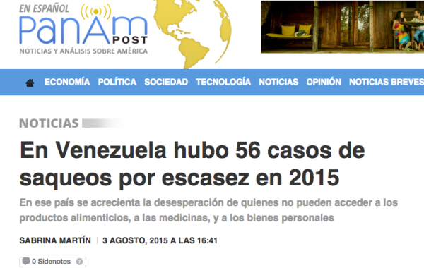 En Venezuela hubo 56 casos de saqueos por escasez en 2015. mentiras sobre venezuela
